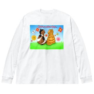 仲良し猫さん 英語ロゴ付き Big silhouette long sleeve T-shirts