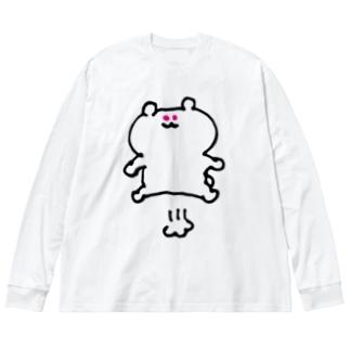 とぶくまちゃん Big silhouette long sleeve T-shirts