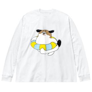 もじゃまるうきわ Big silhouette long sleeve T-shirts