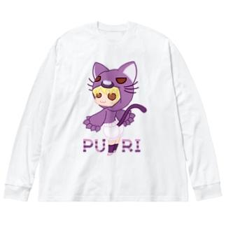 ぷり☆ネコちゃん Big silhouette long sleeve T-shirts