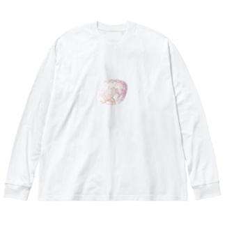 星雲みたいな石 Big silhouette long sleeve T-shirts