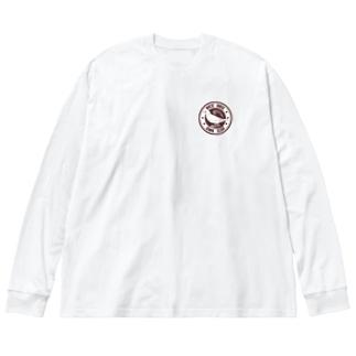文鳥と稲穂 Big silhouette long sleeve T-shirts