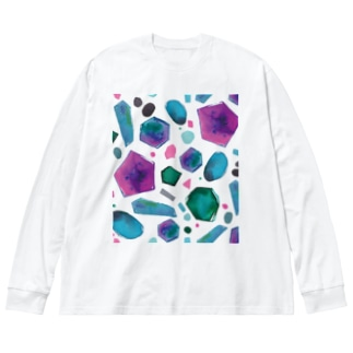 colour crystal Big silhouette long sleeve T-shirts