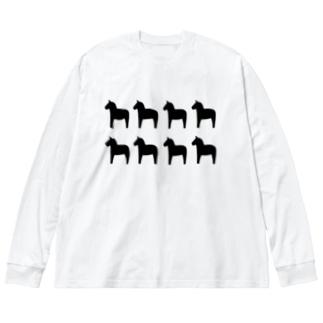 【ダーラナホース】ブラック Big silhouette long sleeve T-shirts