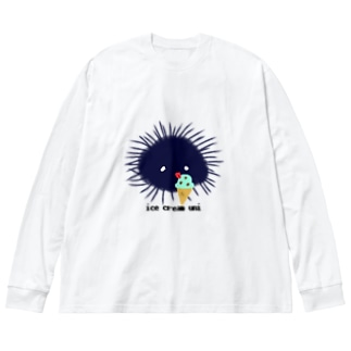 アイスうに Big silhouette long sleeve T-shirts
