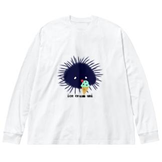 アイスうに Big silhouette long sleeve T-shirts