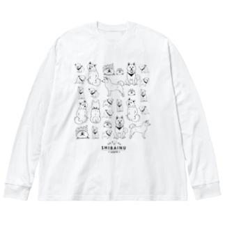 白柴たくさん Big silhouette long sleeve T-shirts