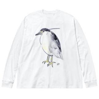五位鷺 Big silhouette long sleeve T-shirts