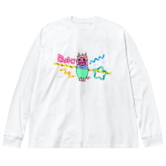 Dokiっとキャット(ピンク) Big silhouette long sleeve T-shirts