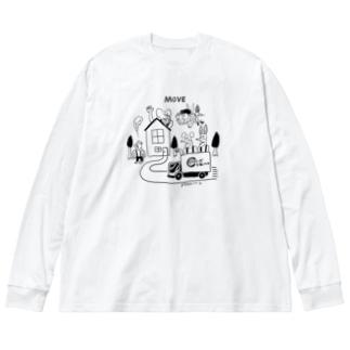 どうぶつーズ引っ越しセンタ Big silhouette long sleeve T-shirts