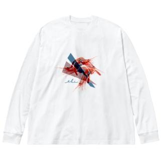 エビ!エビ!エビ! Big silhouette long sleeve T-shirts