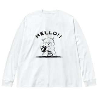 アルパカ珈琲店 Big silhouette long sleeve T-shirts