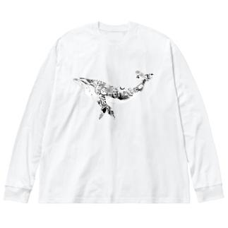 東京のくじら_背景なし Big silhouette long sleeve T-shirts