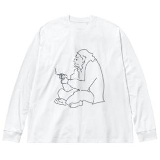 つっつん Big silhouette long sleeve T-shirts