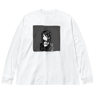彼女にしてはめずらしく Big silhouette long sleeve T-shirts