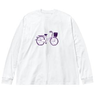 自転車デザイン「ママチャリ」 Big silhouette long sleeve T-shirts