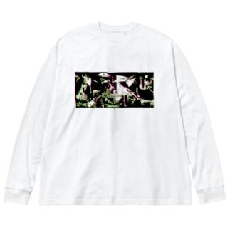 ゲルニカ黒 Big silhouette long sleeve T-shirts