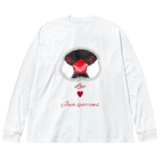 にこにこ桜文鳥① Big silhouette long sleeve T-shirts