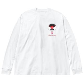 にこにこ桜文鳥② Big silhouette long sleeve T-shirts