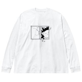 あぁ!!ガラス割れた!! Big silhouette long sleeve T-shirts
