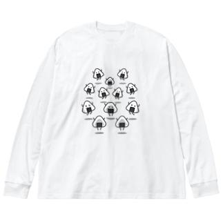 じゃんぴんぐおにぎり Big silhouette long sleeve T-shirts