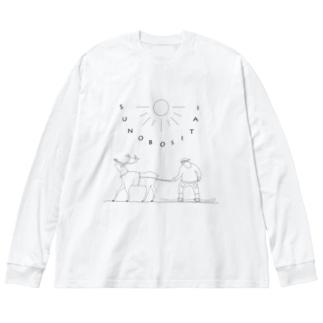 すのぼさんた Big silhouette long sleeve T-shirts