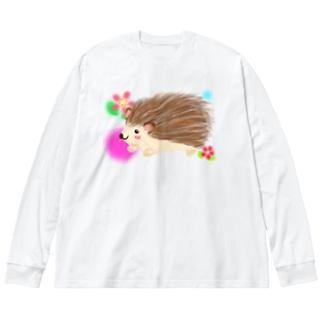 可愛いハリネズミ 花柄背景① Big silhouette long sleeve T-shirts