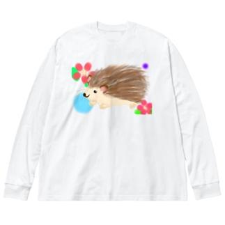 ハリネズミさん 背景あり① Big silhouette long sleeve T-shirts