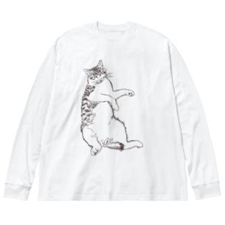 長毛猫 Big silhouette long sleeve T-shirts