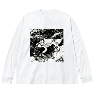 Fantastic Frog -Black And White Version- Big silhouette long sleeve T-shirts