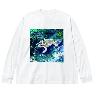 Fantastic Frog -White Ice Version- Big silhouette long sleeve T-shirts