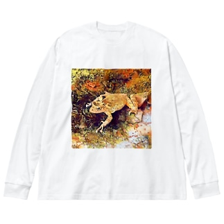 Fantastic Frog -Autumn Version- Big silhouette long sleeve T-shirts