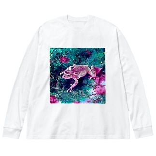 Fantastic Frog -Fascinating Version- Big silhouette long sleeve T-shirts