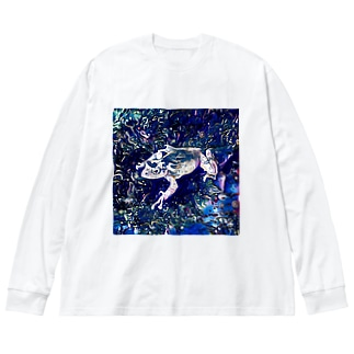 Fantastic Frog -Cosmos Version- Big silhouette long sleeve T-shirts