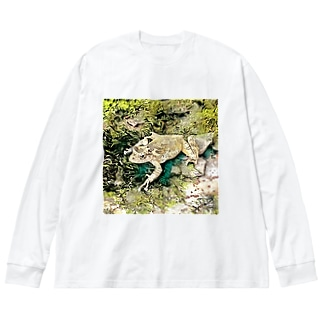 Fantastic Frog -Green Sketch Version- Big silhouette long sleeve T-shirts