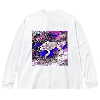 Fantastic Frog -Lapis Lazuli Version- Big silhouette long sleeve T-shirts