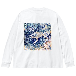 Fantastic Frog -Wispy Version- Big silhouette long sleeve T-shirts