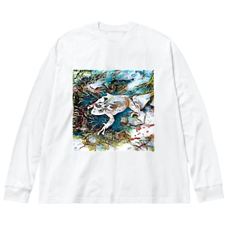 Fantastic Frog -Coolness Version- Big silhouette long sleeve T-shirts