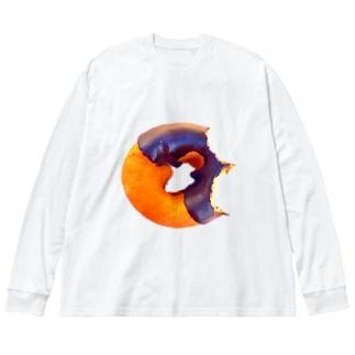 食べかけドーナツ Big silhouette long sleeve T-shirts