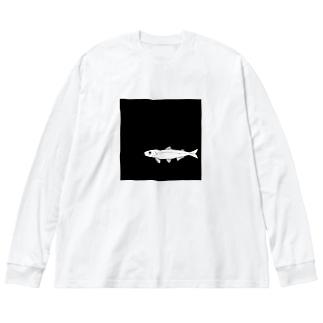 湖底チカ Big silhouette long sleeve T-shirts