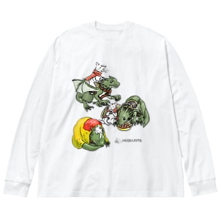 竜騎猫の一日 Big silhouette long sleeve T-shirts