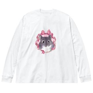 アンティークリボンチンチラ(バイオレット) Big silhouette long sleeve T-shirts