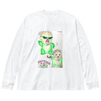 わななきのワニ泣き Big silhouette long sleeve T-shirts