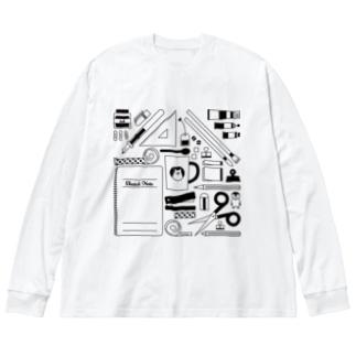 せいかつ(黒) Big silhouette long sleeve T-shirts
