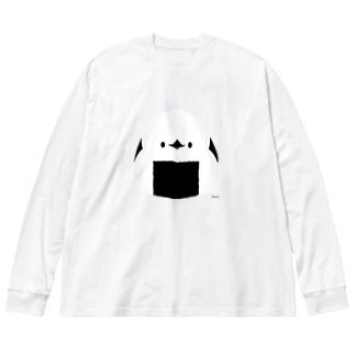 握りエナガ Big silhouette long sleeve T-shirts