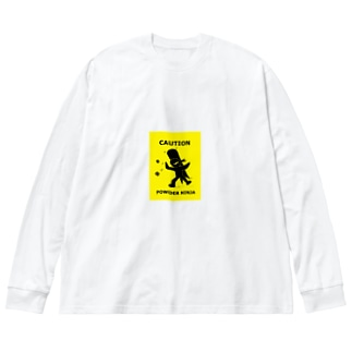パウダースノー忍者 Big silhouette long sleeve T-shirts