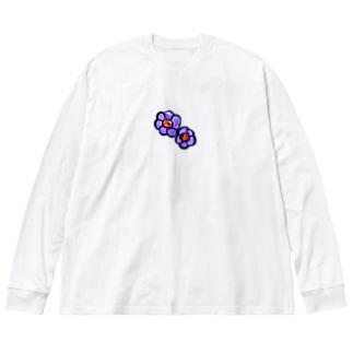 むらさきのお花 Big silhouette long sleeve T-shirts