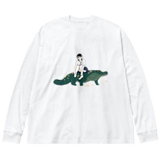 クロ子 Big silhouette long sleeve T-shirts