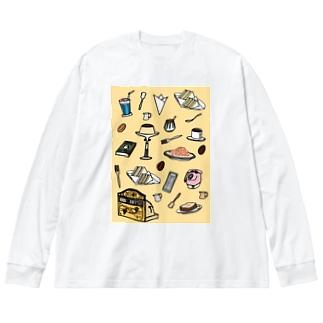 気ままに創作 よろず堂の純喫茶 いろどり 背景つき Big silhouette long sleeve T-shirts