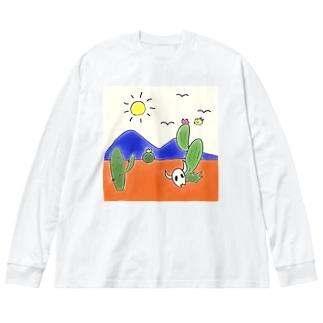 クマバチとメキシカンタイル Big silhouette long sleeve T-shirts